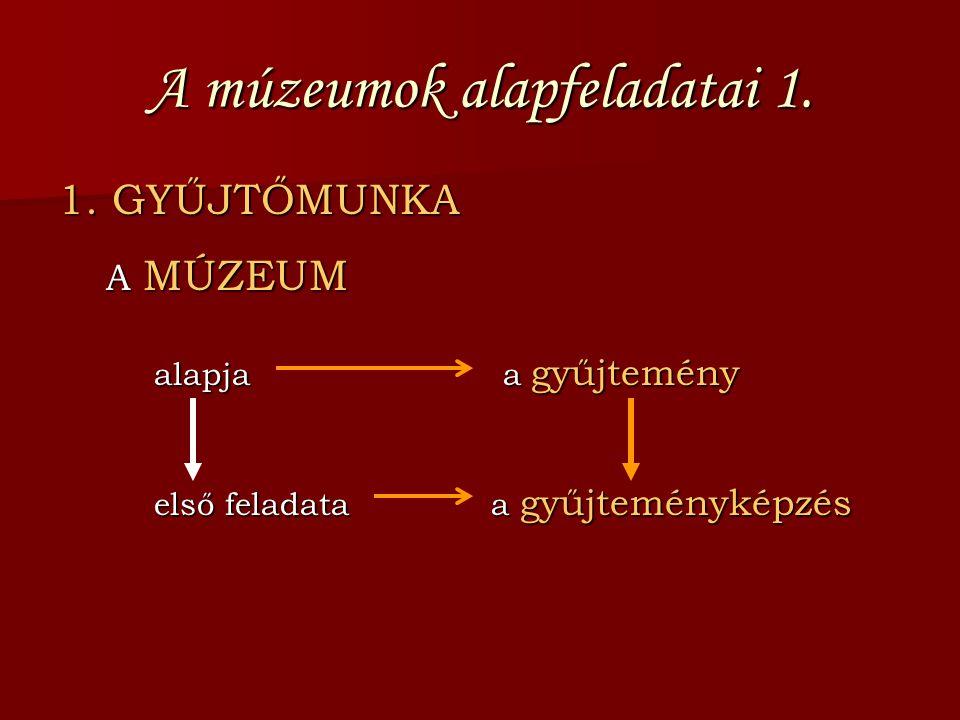 A múzeumok alapfeladatai 1.