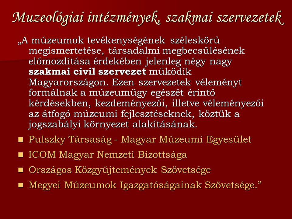 Muzeológiai intézmények, szakmai szervezetek