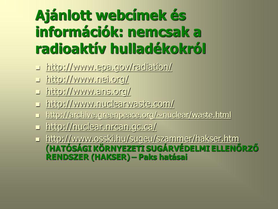 Ajánlott webcímek és információk: nemcsak a radioaktív hulladékokról