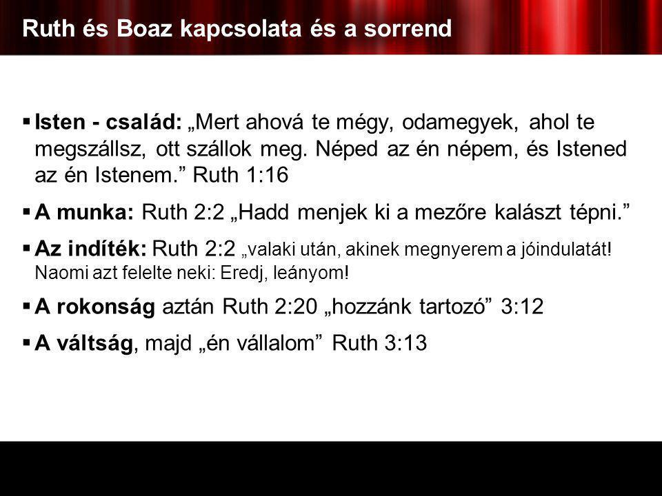 Ruth és Boaz kapcsolata és a sorrend
