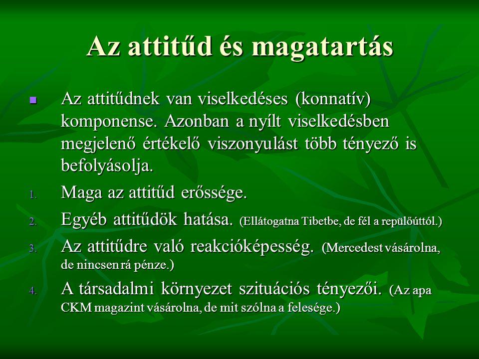 Az attitűd és magatartás