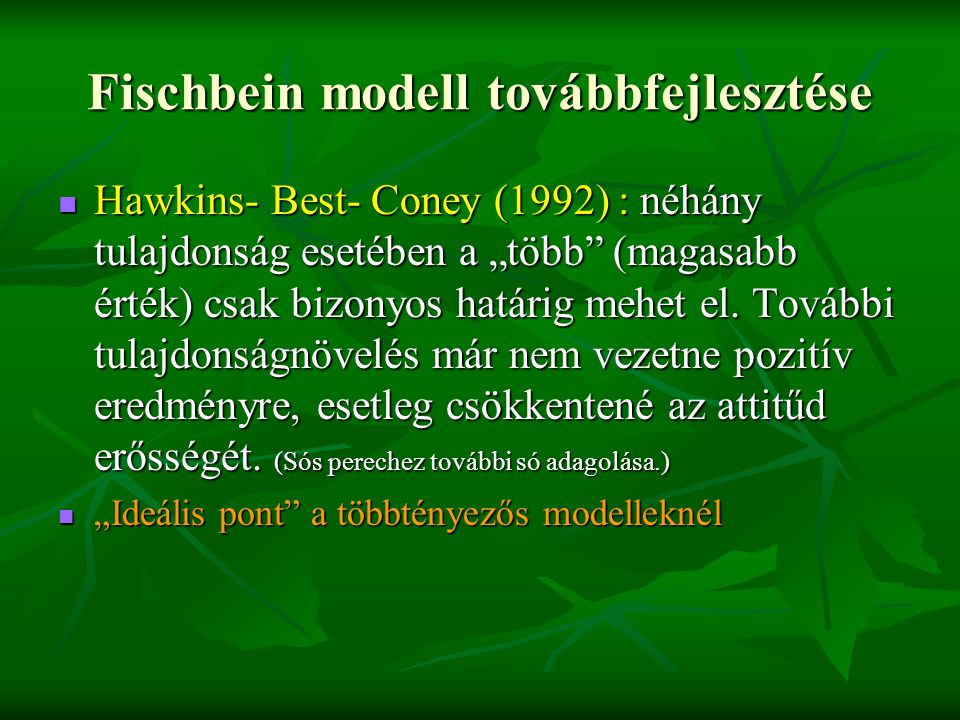 Fischbein modell továbbfejlesztése