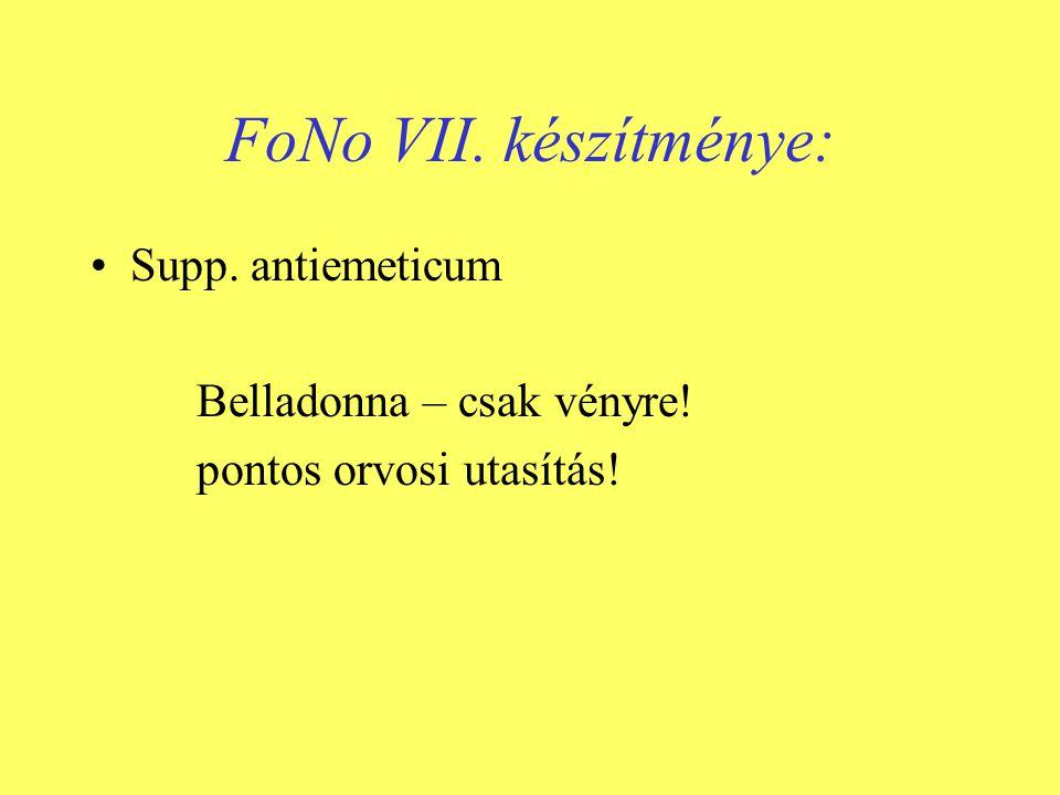 FoNo VII. készítménye: Supp. antiemeticum Belladonna – csak vényre!