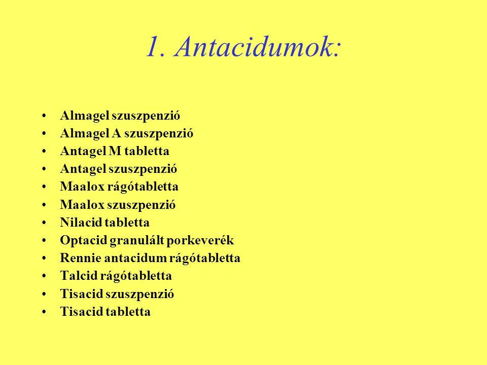 1. Antacidumok: Almagel szuszpenzió Almagel A szuszpenzió