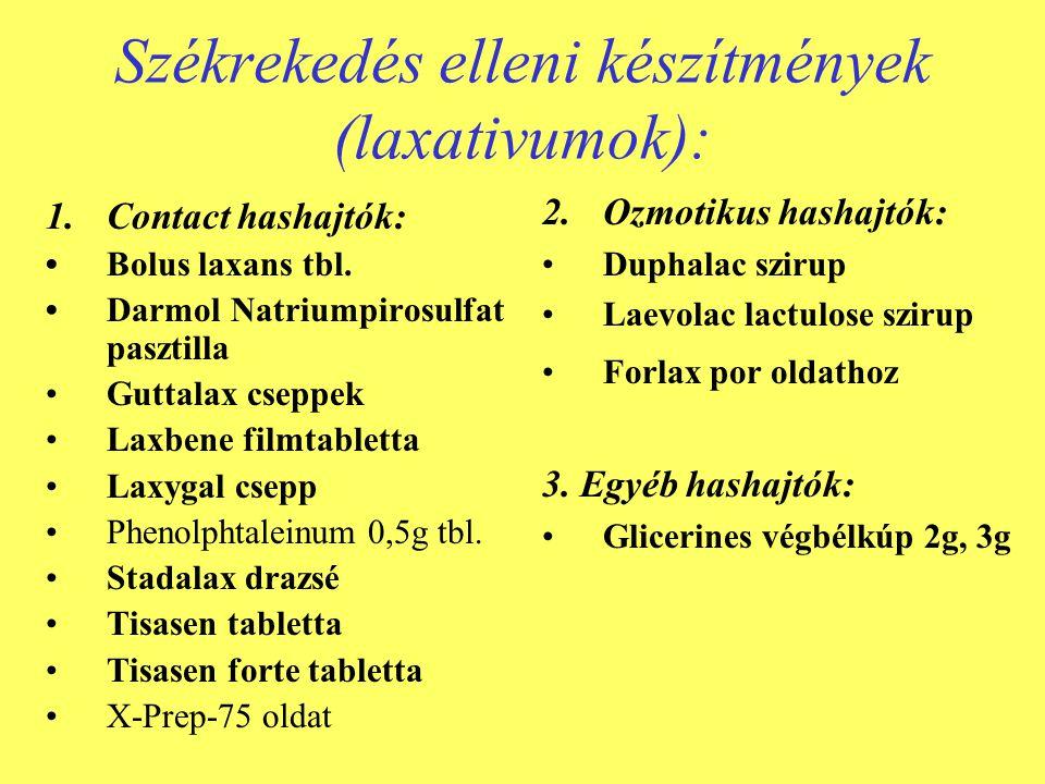 Székrekedés elleni készítmények (laxativumok):
