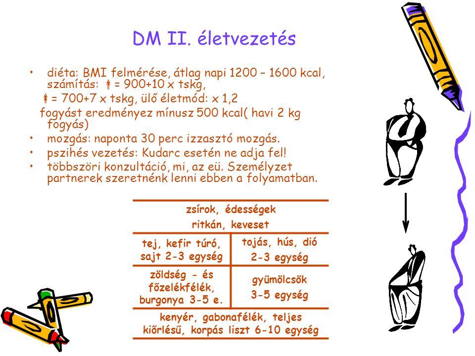 DM II. életvezetés diéta: BMI felmérése, átlag napi 1200 – 1600 kcal, számítás: = 900+10 x tskg, = 700+7 x tskg, ülő életmód: x 1,2.