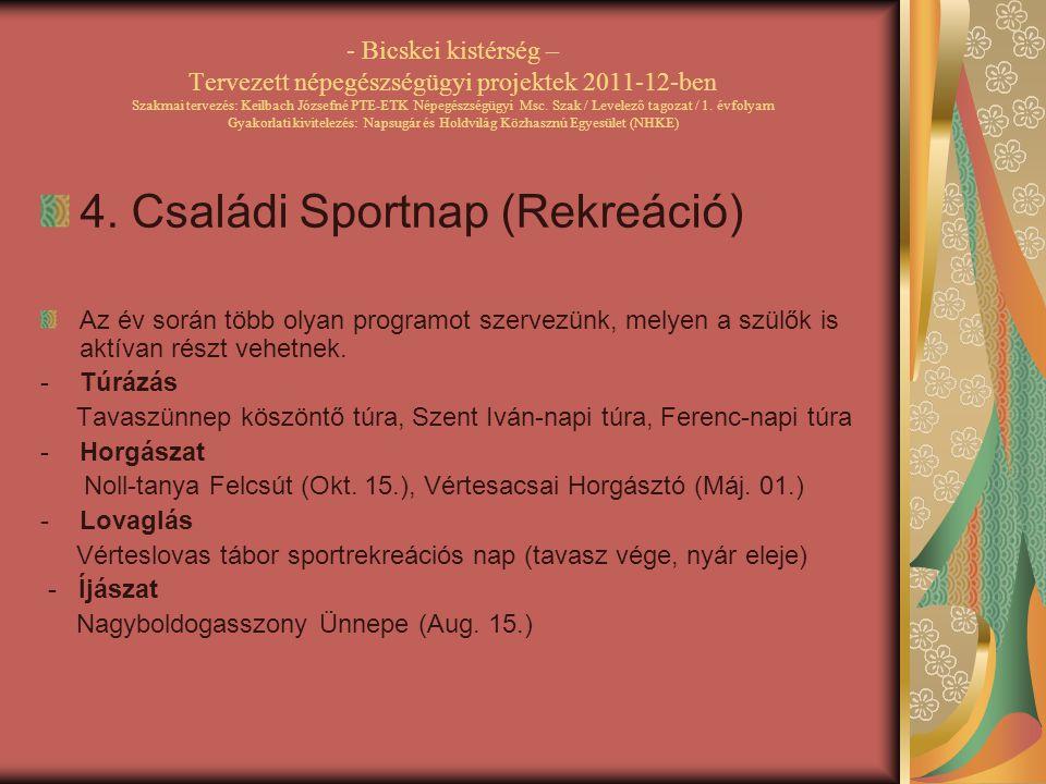 4. Családi Sportnap (Rekreáció)