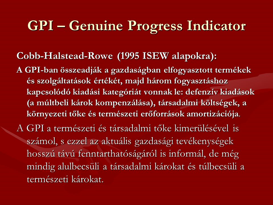 GPI – Genuine Progress Indicator