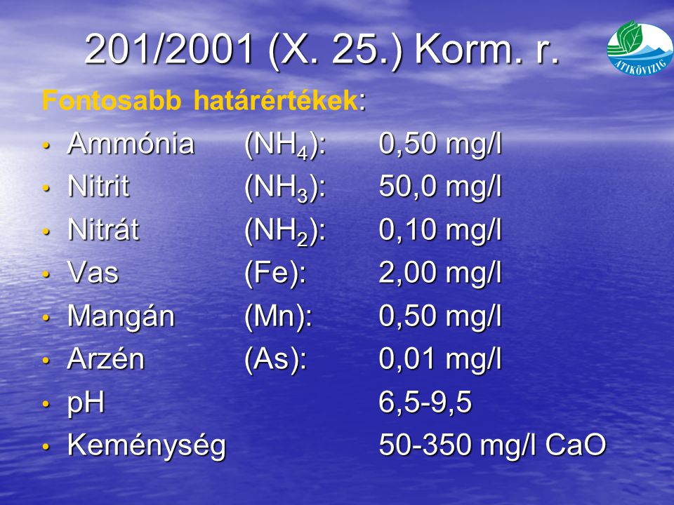 201/2001 (X. 25.) Korm. r. Ammónia (NH4): 0,50 mg/l