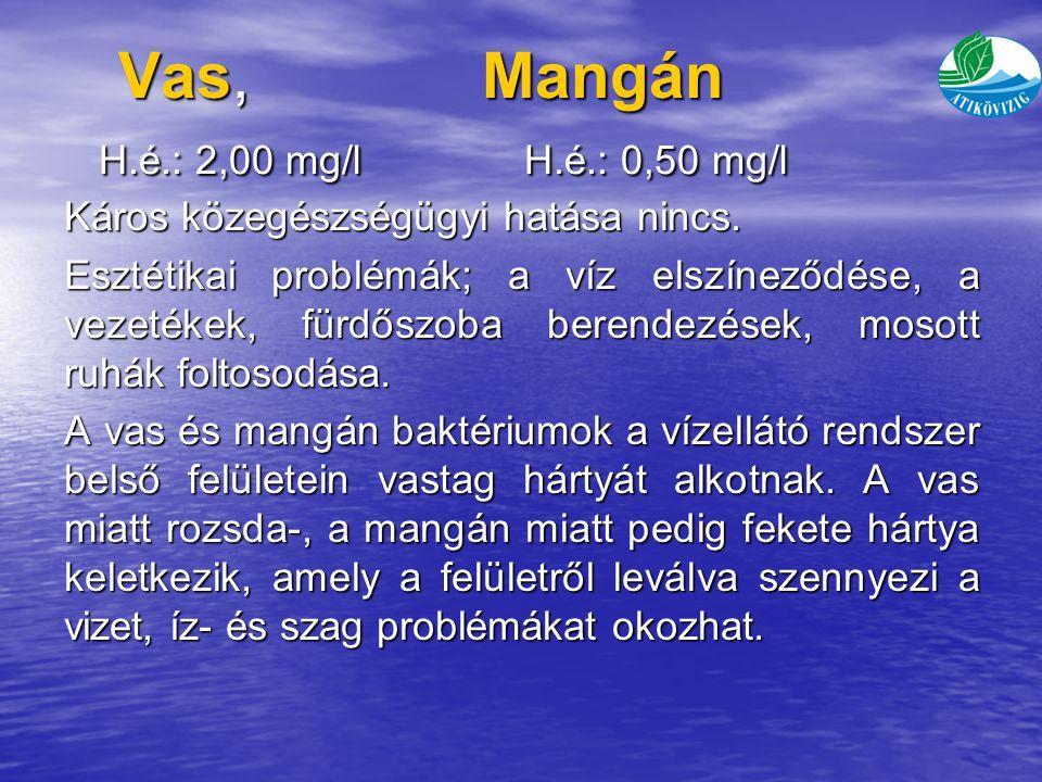 Vas, Mangán H.é.: 2,00 mg/l H.é.: 0,50 mg/l