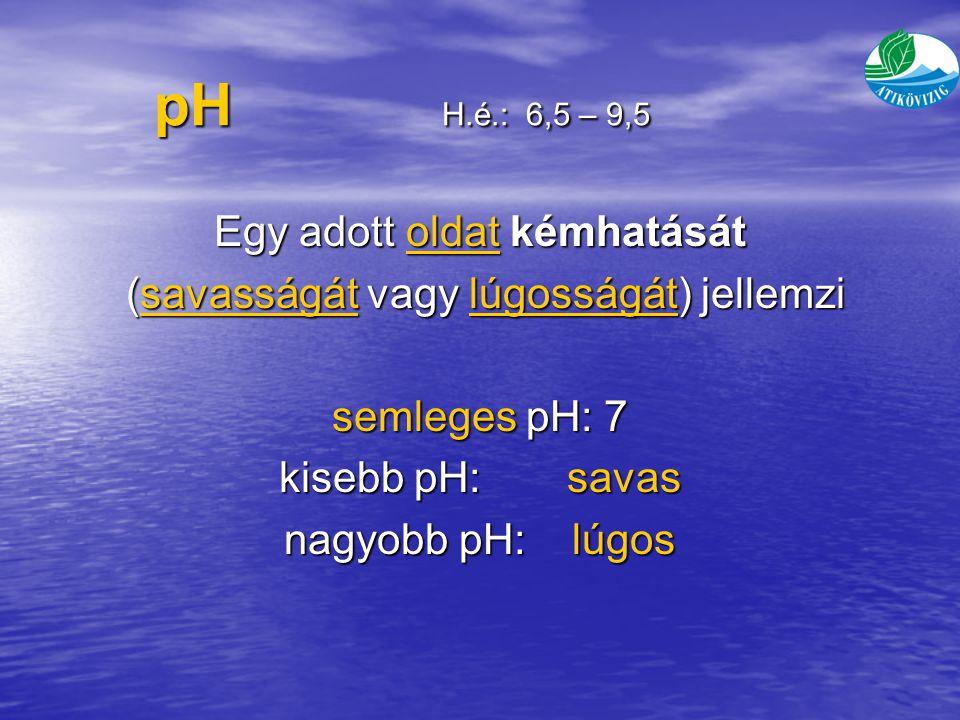pH H.é.: 6,5 – 9,5 Egy adott oldat kémhatását
