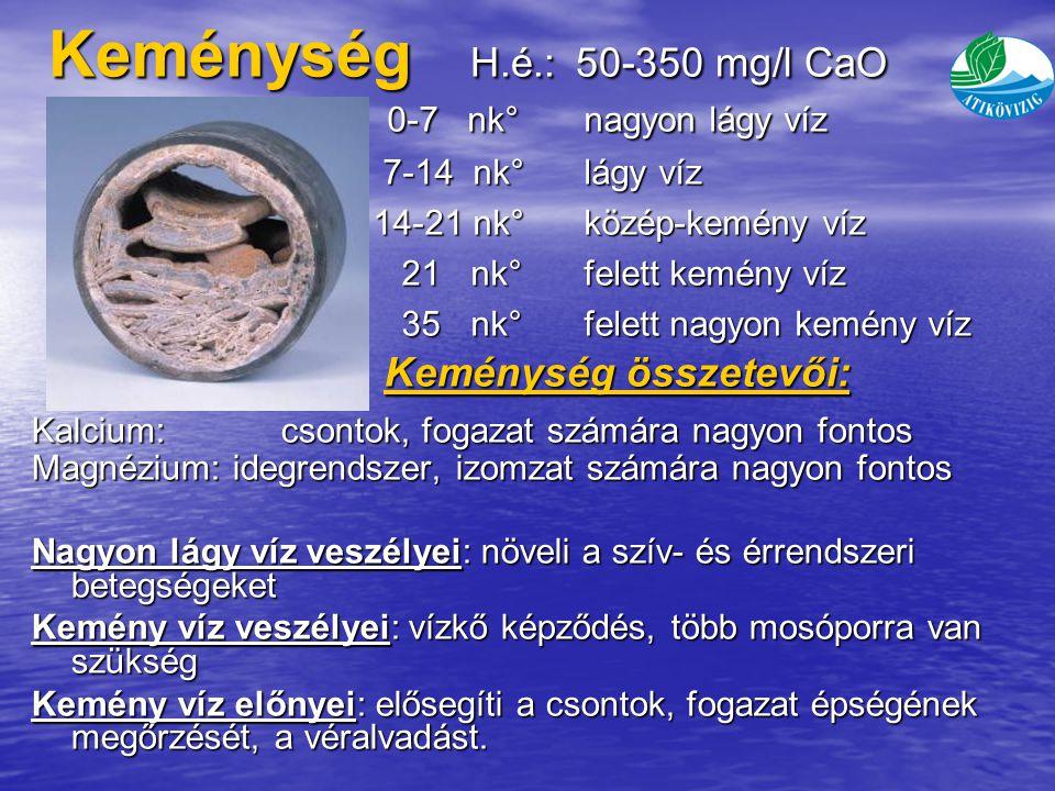 Keménység H.é.: 50-350 mg/l CaO