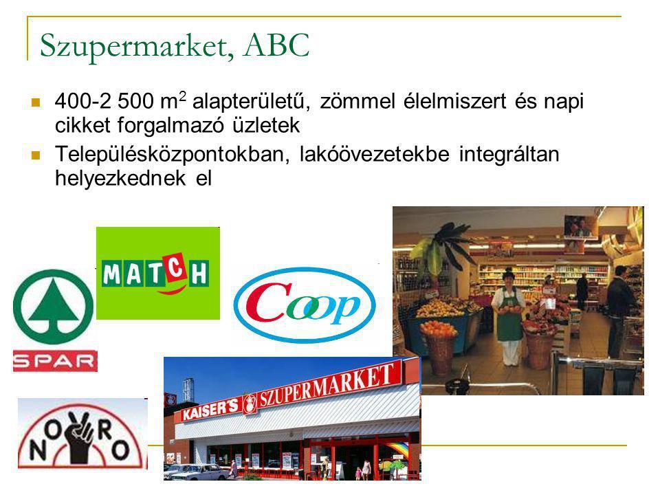 Szupermarket, ABC 400-2 500 m2 alapterületű, zömmel élelmiszert és napi cikket forgalmazó üzletek.