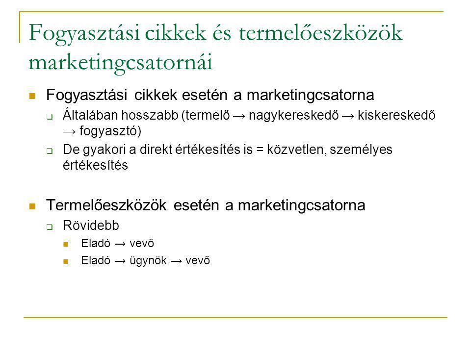 Fogyasztási cikkek és termelőeszközök marketingcsatornái