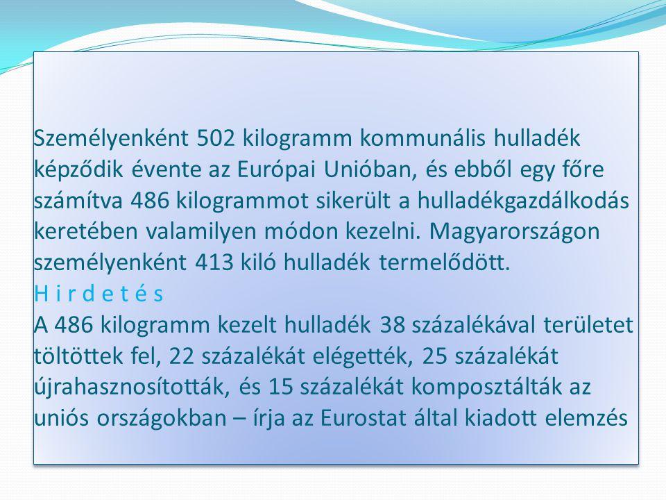 Személyenként 502 kilogramm kommunális hulladék képződik évente az Európai Unióban, és ebből egy főre számítva 486 kilogrammot sikerült a hulladékgazdálkodás keretében valamilyen módon kezelni.