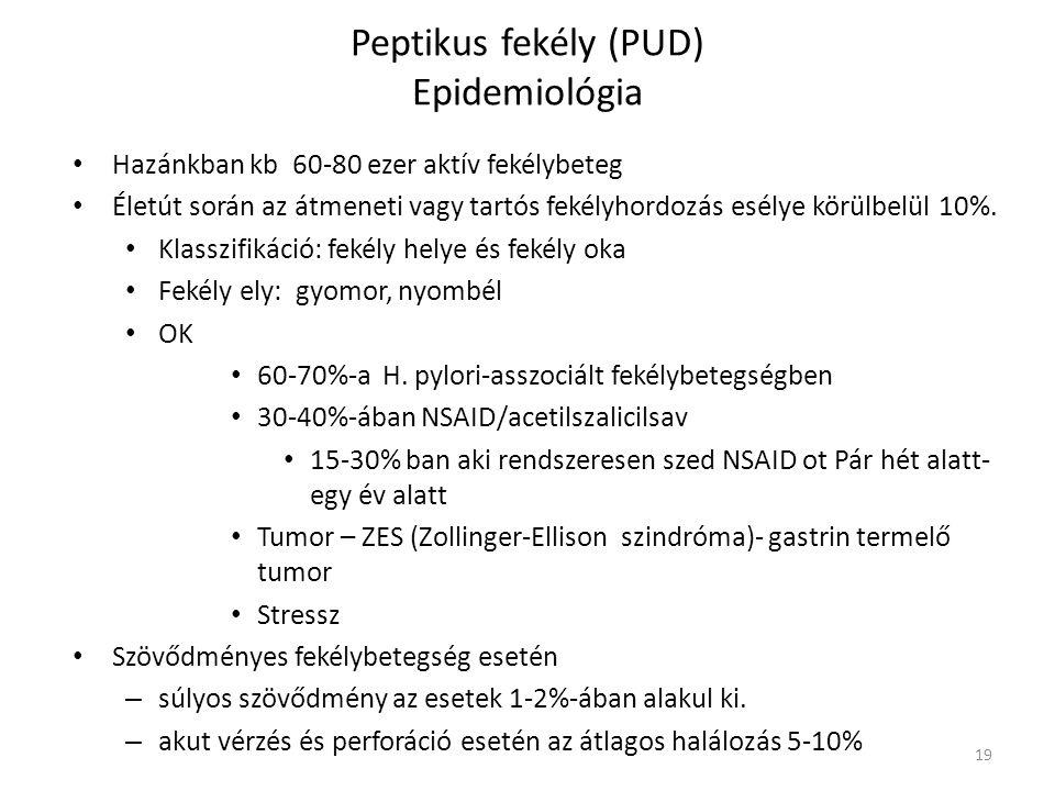 Peptikus fekély (PUD) Epidemiológia