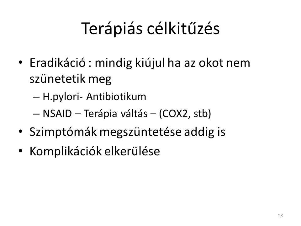 Terápiás célkitűzés Eradikáció : mindig kiújul ha az okot nem szünetetik meg. H.pylori- Antibiotikum.