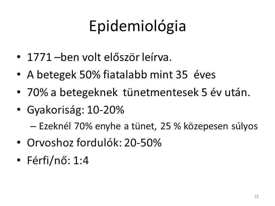 Epidemiológia 1771 –ben volt először leírva.