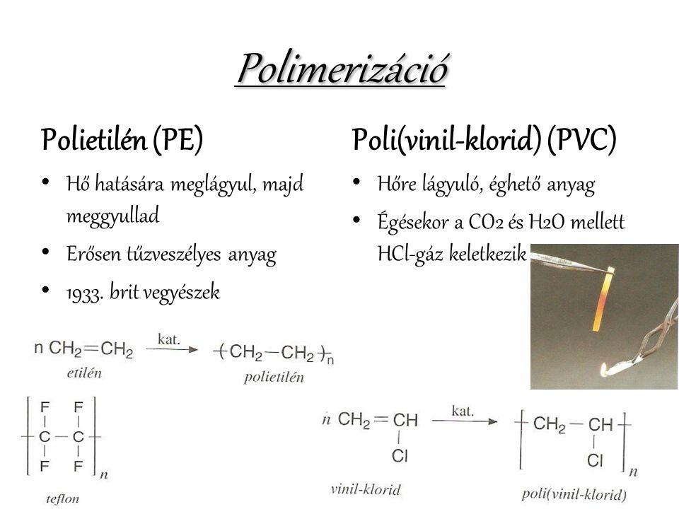 Polimerizáció Polietilén (PE) Poli(vinil-klorid) (PVC)