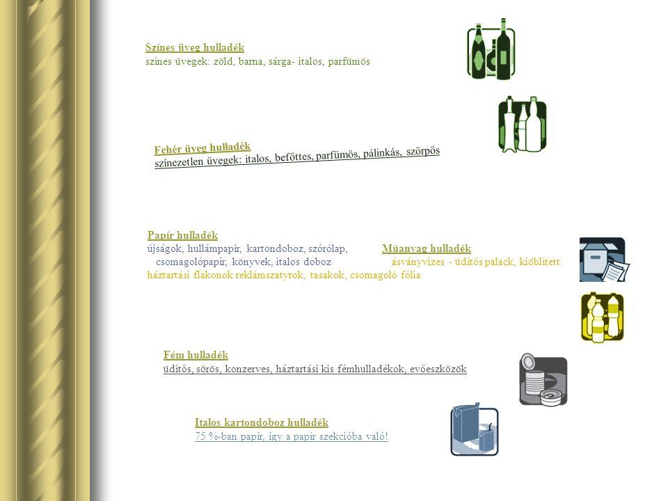 Színes üveg hulladék színes üvegek: zöld, barna, sárga- italos, parfümös