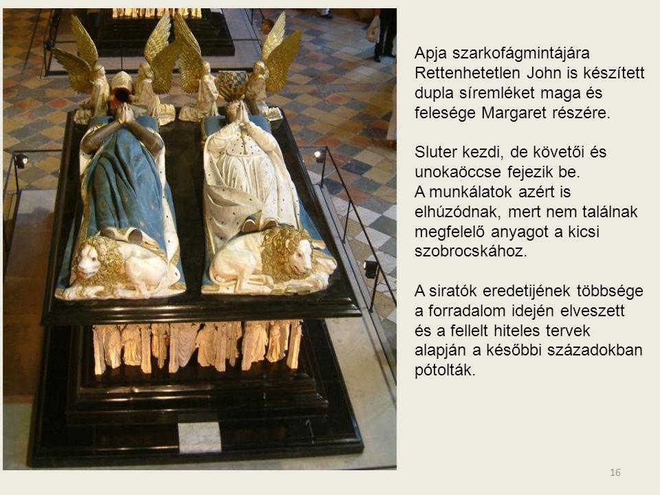 Apja szarkofágmintájára Rettenhetetlen John is készített dupla síremléket maga és felesége Margaret részére.