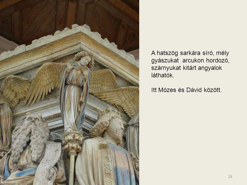 A hatszög sarkára síró, mély gyászukat arcukon hordozó, szárnyukat kitárt angyalok láthatók.