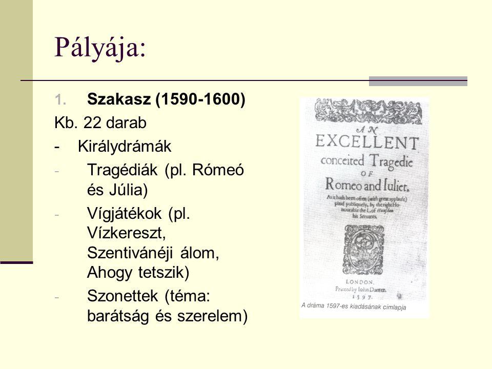 Pályája: Szakasz (1590-1600) Kb. 22 darab - Királydrámák