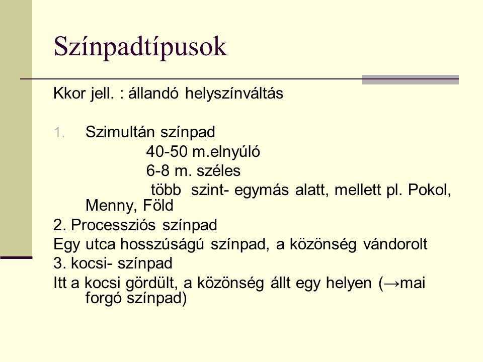 Színpadtípusok Kkor jell. : állandó helyszínváltás Szimultán színpad