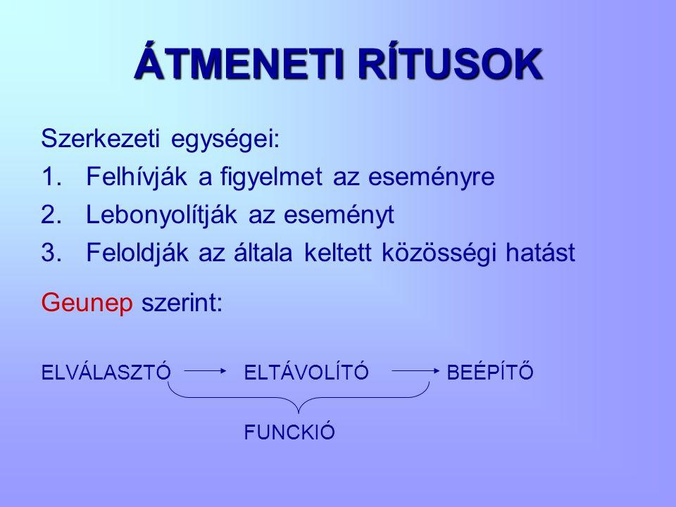 ÁTMENETI RÍTUSOK Szerkezeti egységei: