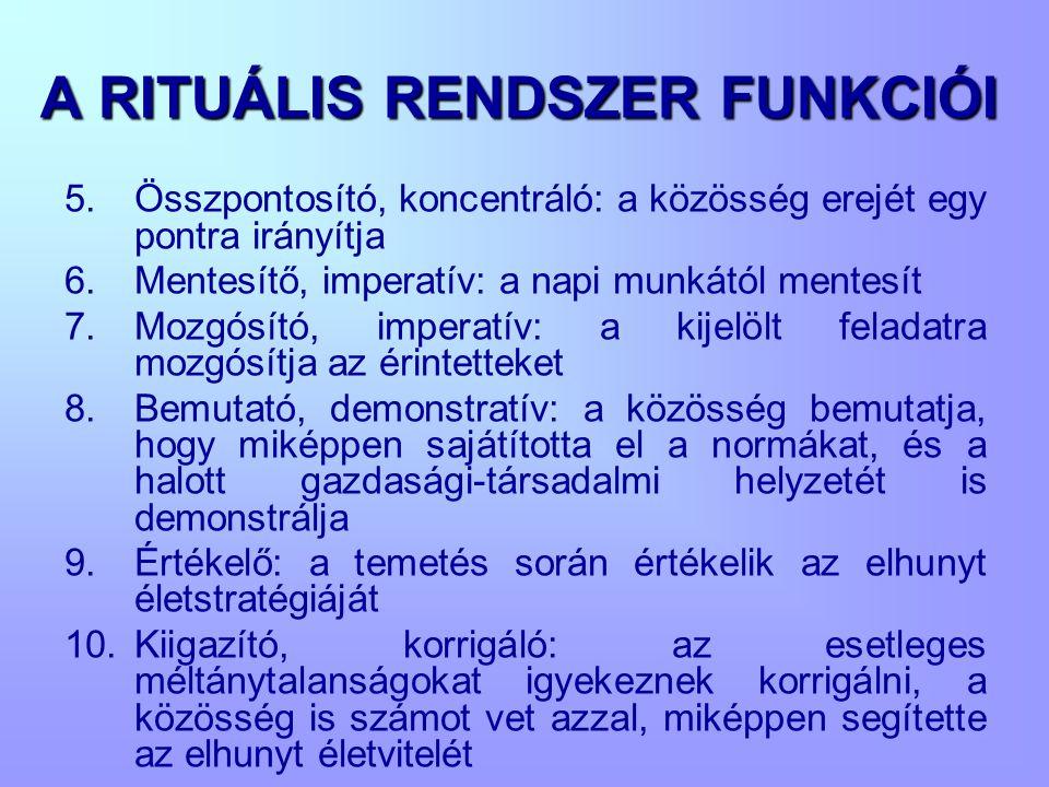 A RITUÁLIS RENDSZER FUNKCIÓI