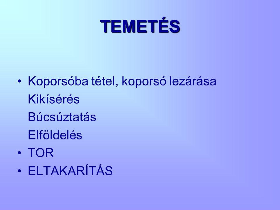 TEMETÉS Koporsóba tétel, koporsó lezárása Kikísérés Búcsúztatás