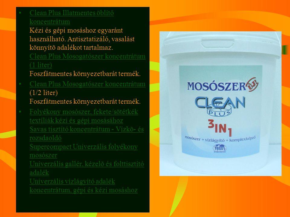 Clean Plus Illatmentes öblítő koncentrátum Kézi és gépi mosáshoz egyaránt használható. Antisztatizáló, vasalást könnyítõ adalékot tartalmaz. Clean Plus Mosogatószer koncentrátum (1 liter) Foszfátmentes környezetbarát termék.