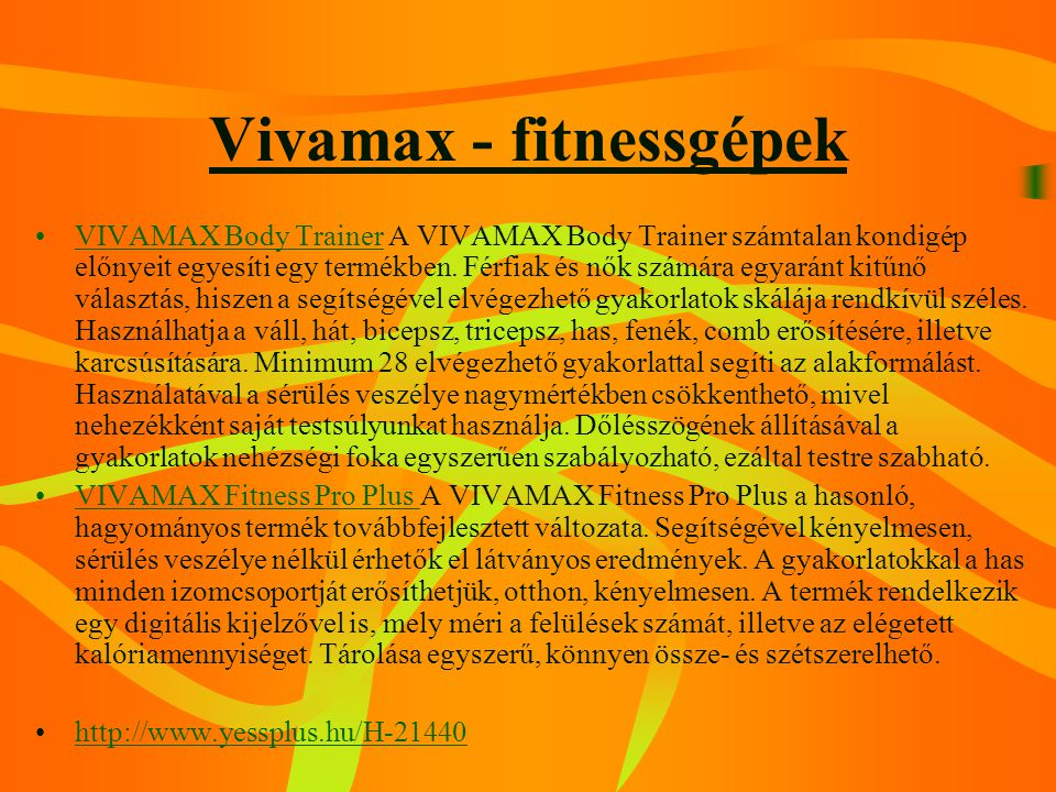 Vivamax - fitnessgépek
