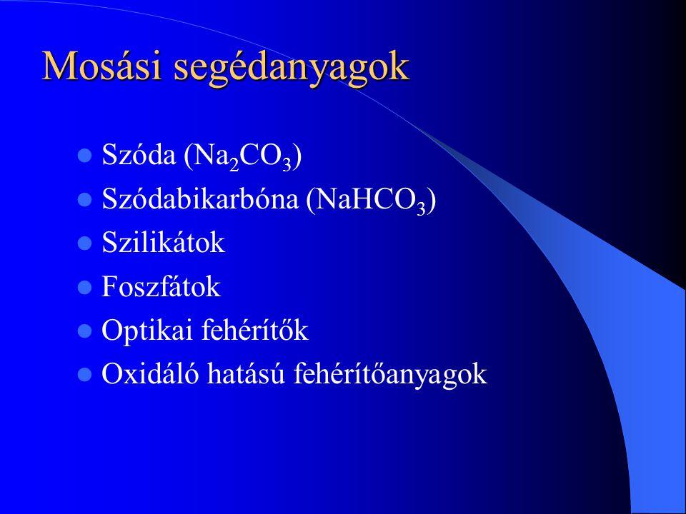 Mosási segédanyagok Szóda (Na2CO3) Szódabikarbóna (NaHCO3) Szilikátok