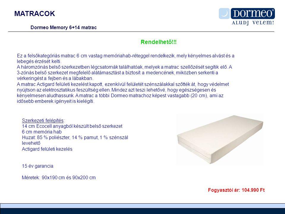 MATRACOK Rendelhető!!! Dormeo Memory 6+14 matrac