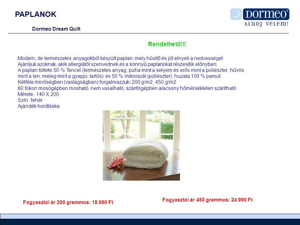 PAPLANOK Rendelhető!!! Dormeo Dream Quilt