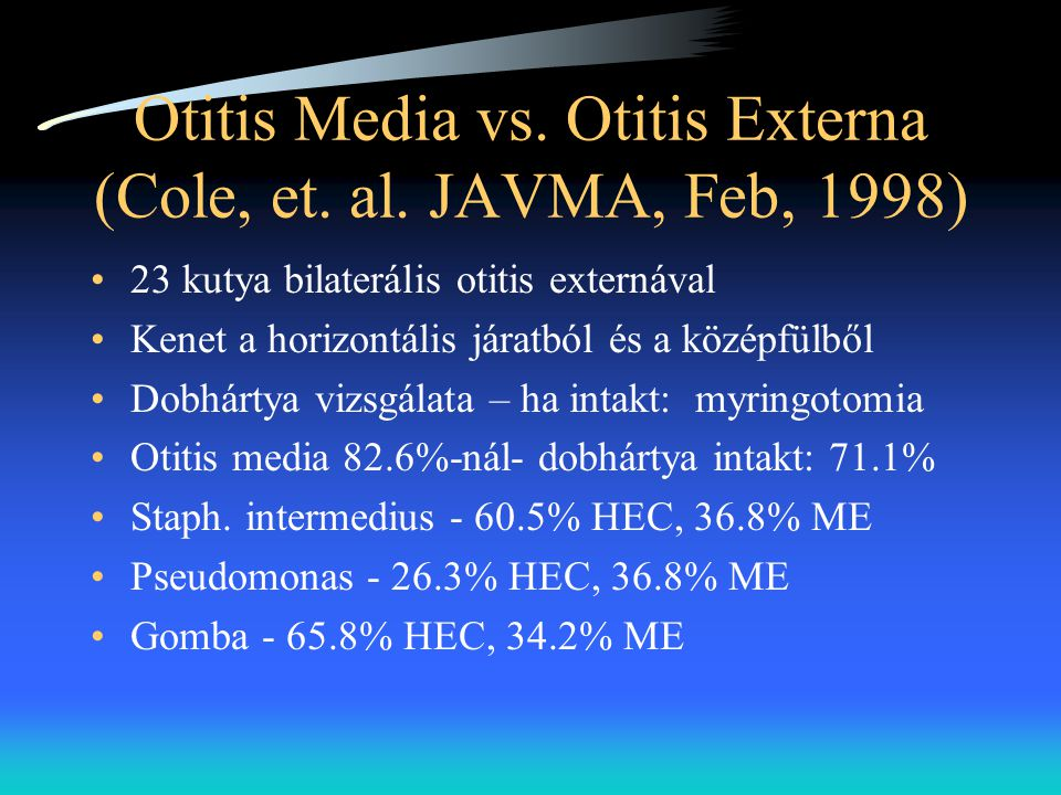 Otitis Media vs. Otitis Externa (Cole, et. al. JAVMA, Feb, 1998)