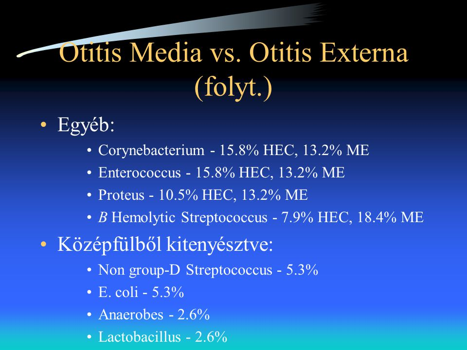 Otitis Media vs. Otitis Externa (folyt.)