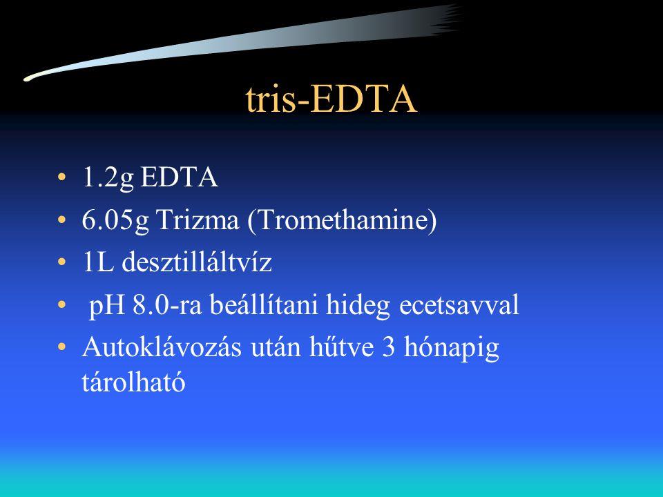 tris-EDTA 1.2g EDTA 6.05g Trizma (Tromethamine) 1L desztilláltvíz