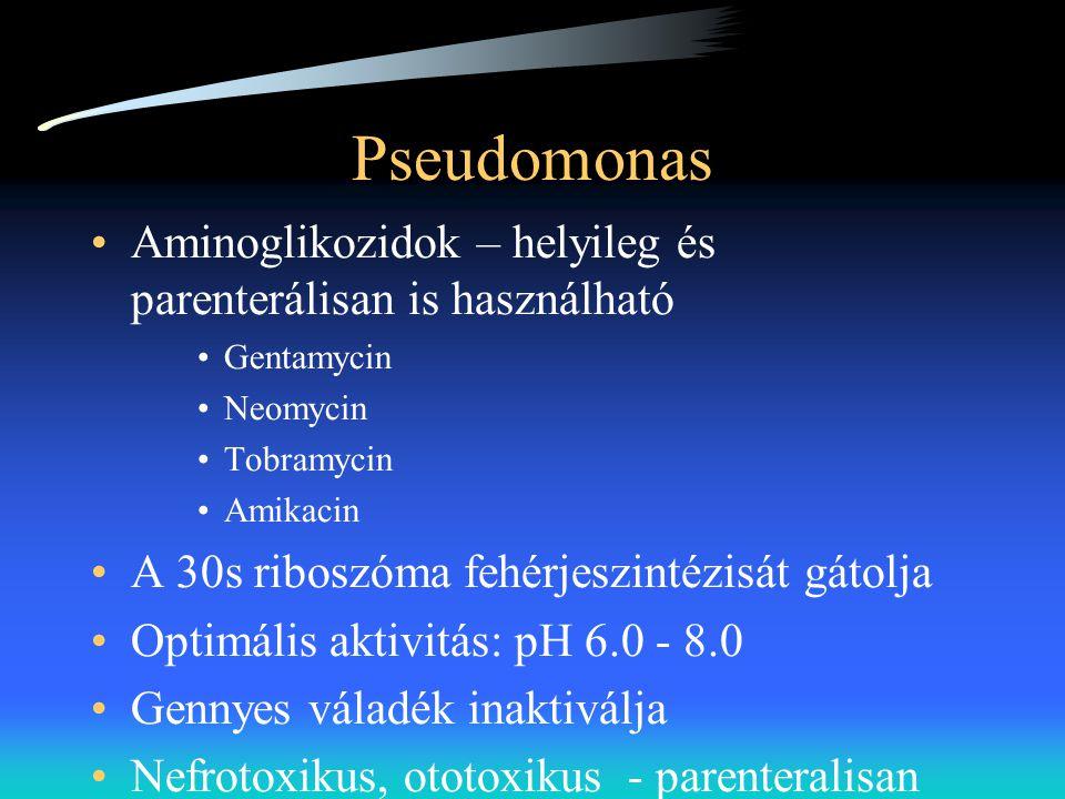 Pseudomonas Aminoglikozidok – helyileg és parenterálisan is használható. Gentamycin. Neomycin. Tobramycin.