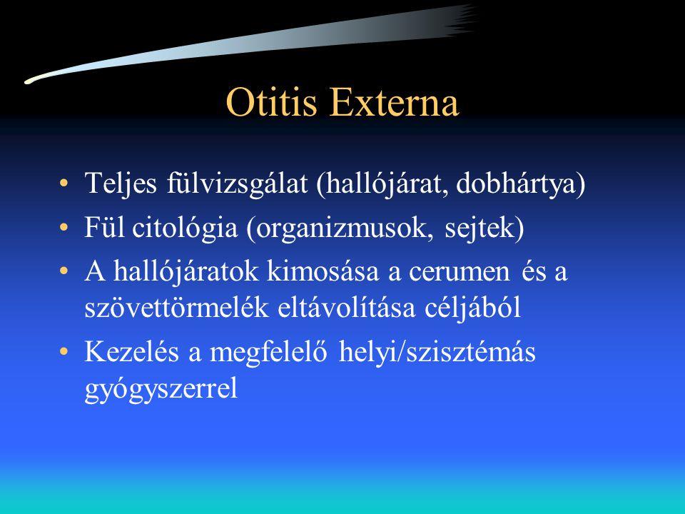 Otitis Externa Teljes fülvizsgálat (hallójárat, dobhártya)
