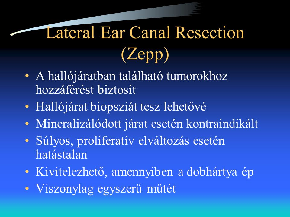 Lateral Ear Canal Resection (Zepp)