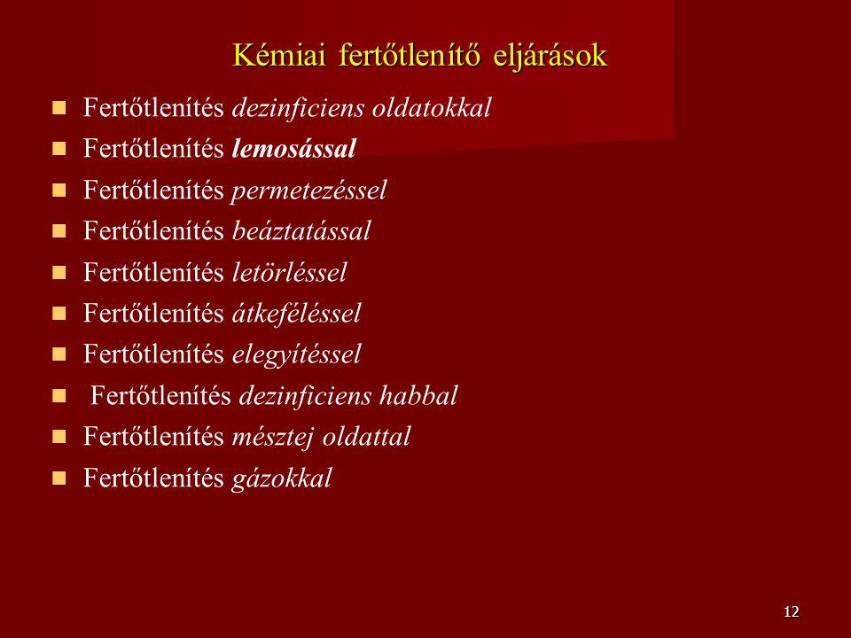 Kémiai fertőtlenítő eljárások