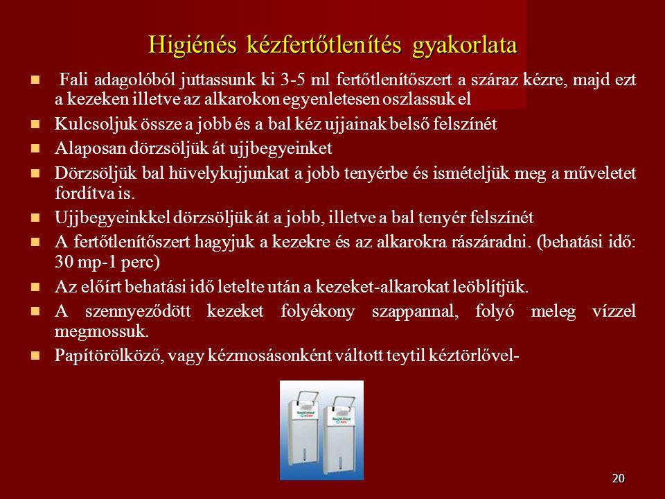 Higiénés kézfertőtlenítés gyakorlata