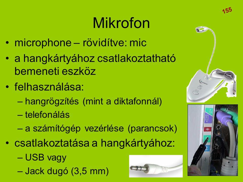 Mikrofon microphone – rövidítve: mic