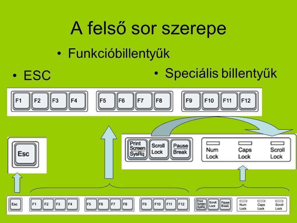 A felső sor szerepe Funkcióbillentyűk Speciális billentyűk ESC