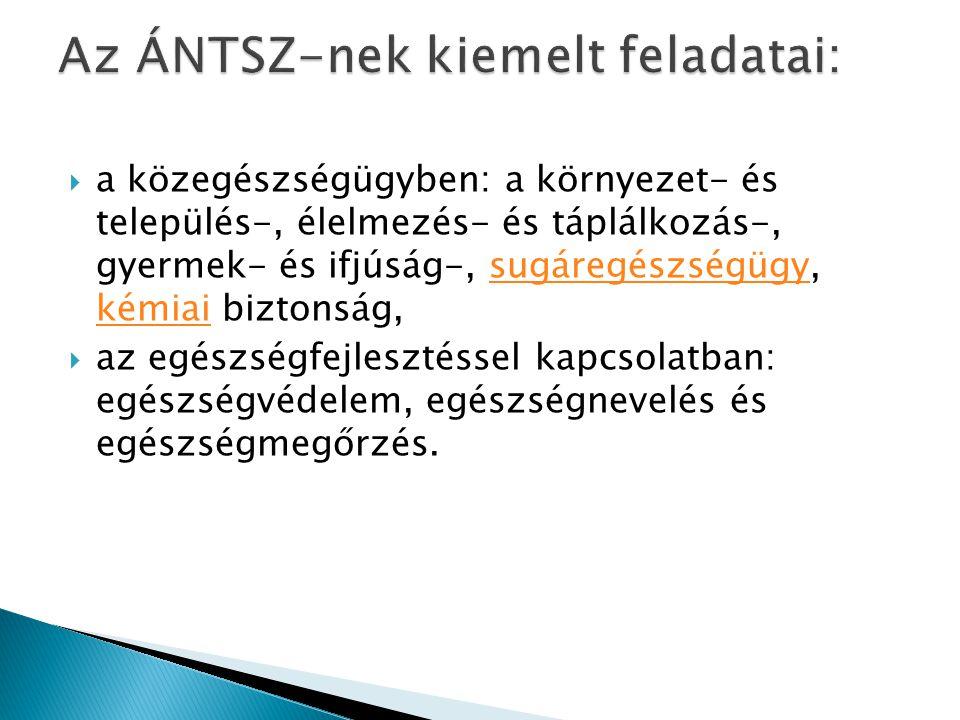 Az ÁNTSZ-nek kiemelt feladatai: