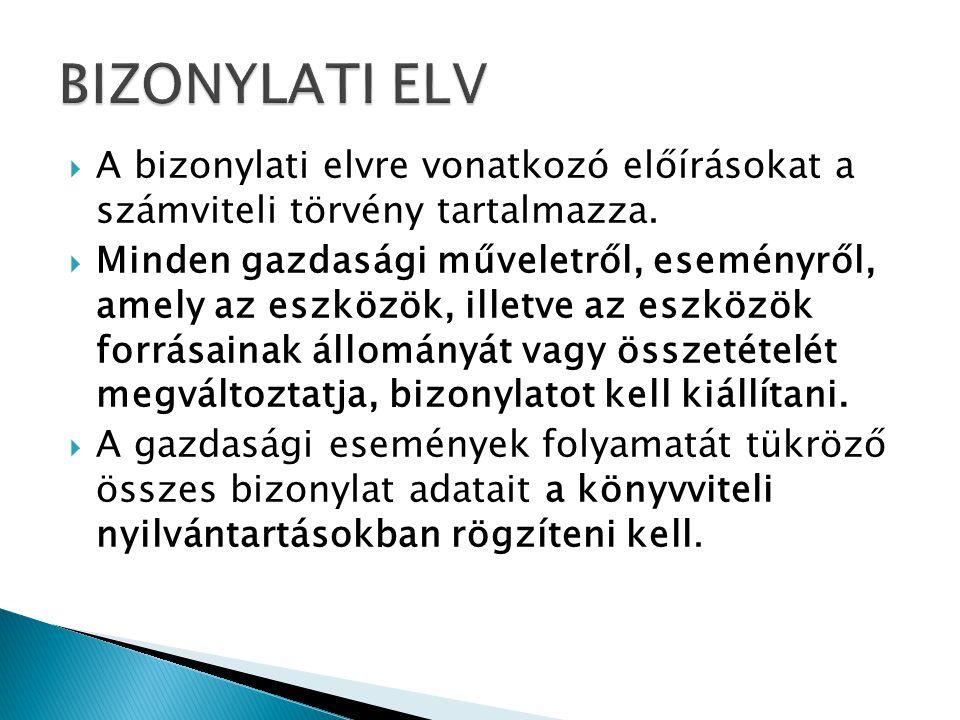 BIZONYLATI ELV A bizonylati elvre vonatkozó előírásokat a számviteli törvény tartalmazza.
