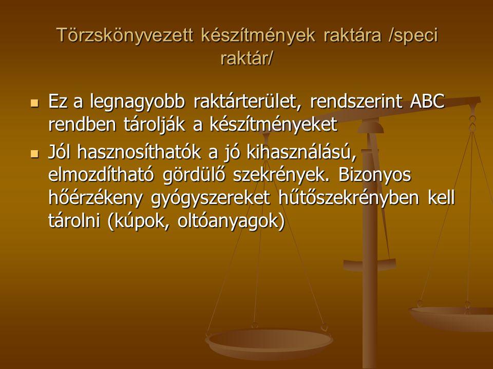 Törzskönyvezett készítmények raktára /speci raktár/