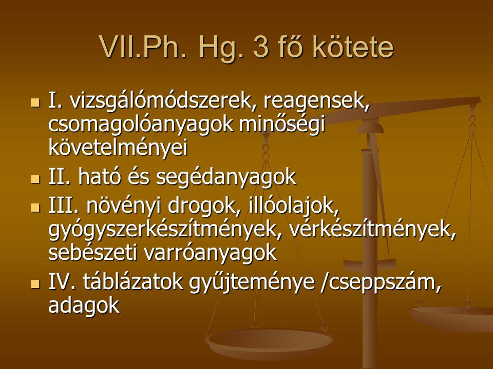 VII.Ph. Hg. 3 fő kötete I. vizsgálómódszerek, reagensek, csomagolóanyagok minőségi követelményei. II. ható és segédanyagok.
